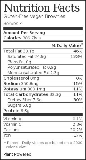 Nutrition label for Gluten-Free Vegan Brownies
