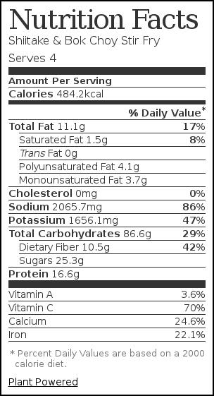 Nutrition label for Shiitake & Bok Choy Stir Fry